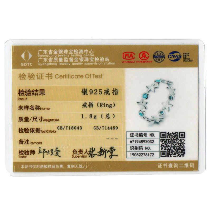 กลางปีขายปลาดาวนิ้วมือซ้อนทับได้แหวนเงินสเตอร์ลิง 925 Ocean Blue แหวนสำหรับเครื่องประดับของขวัญ SCR527