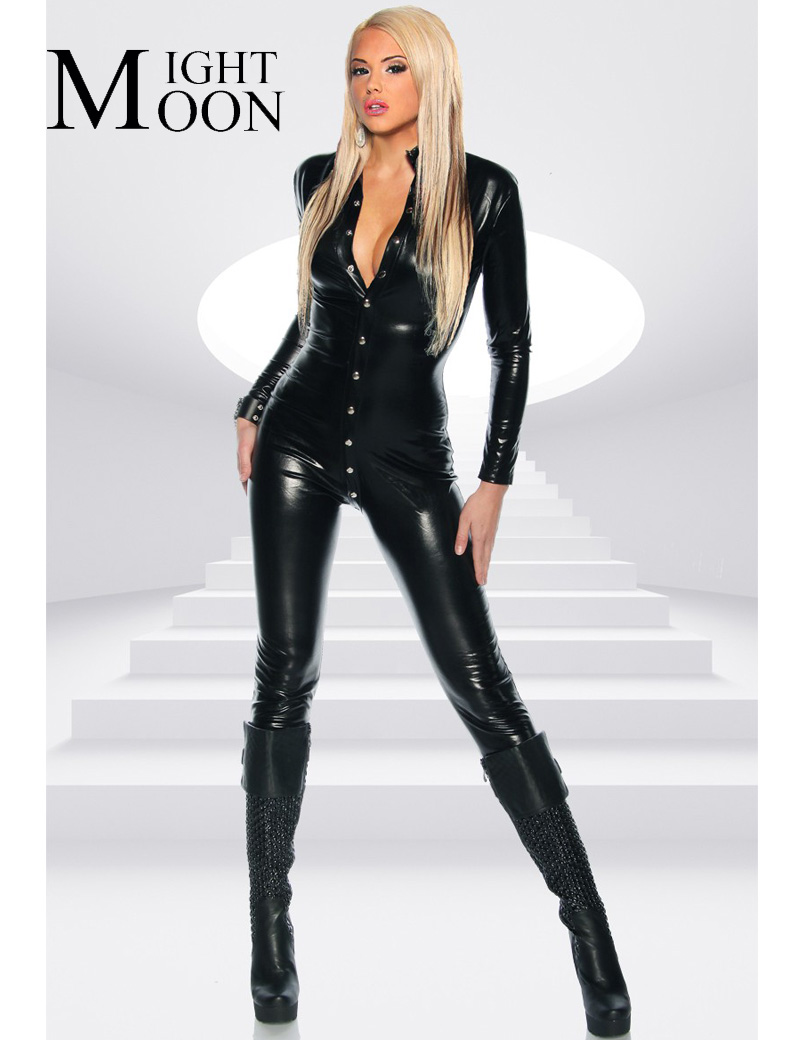 MOONIGHT 2018 PVC Synthetic Leather Bodysuit Sexy Black Long Sleeve With Button Catsuit V Neck Wet Look Jumpsuit