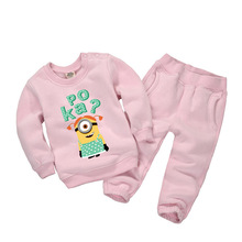 Embroidery Minions Sweatshirts Outfits + Pants Set for Kids