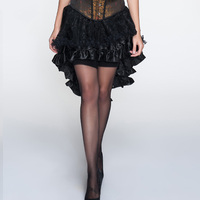 Sladuo Retro Black loral Flocking Tulle & Lace Ruffles Front Short Back Long Gothic Lolita Skirts Costume Steampunk Clothing