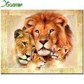 Família do leão pintura Diamante ponto cruz Diamante bordado cheio Europa decoração broca Quadrado série animal AS137