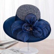 Summer Ladies Hat Leisure Beach Women Sun Hat Elegant Wide Brim Hat Silk Flower Bucket Hat Casual Cap Female Fedora