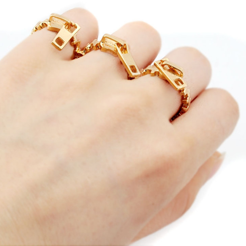 New Creative Zipper Three Finger Ring Designer Finger Ring Gold Color Unique Elegant Ring For Woman Jewelry