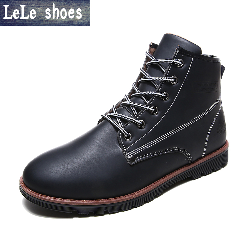 2016 New Arrival Men Winter Martin Ankle Boots PU Leather High Quality Fashion High Top Shoes Snow Timbe Bota Hot Sale Flat Heel new arrival patent pu leather men fashion shoes spring autumn summer ankle boots shoes men high top men boots flats shoes