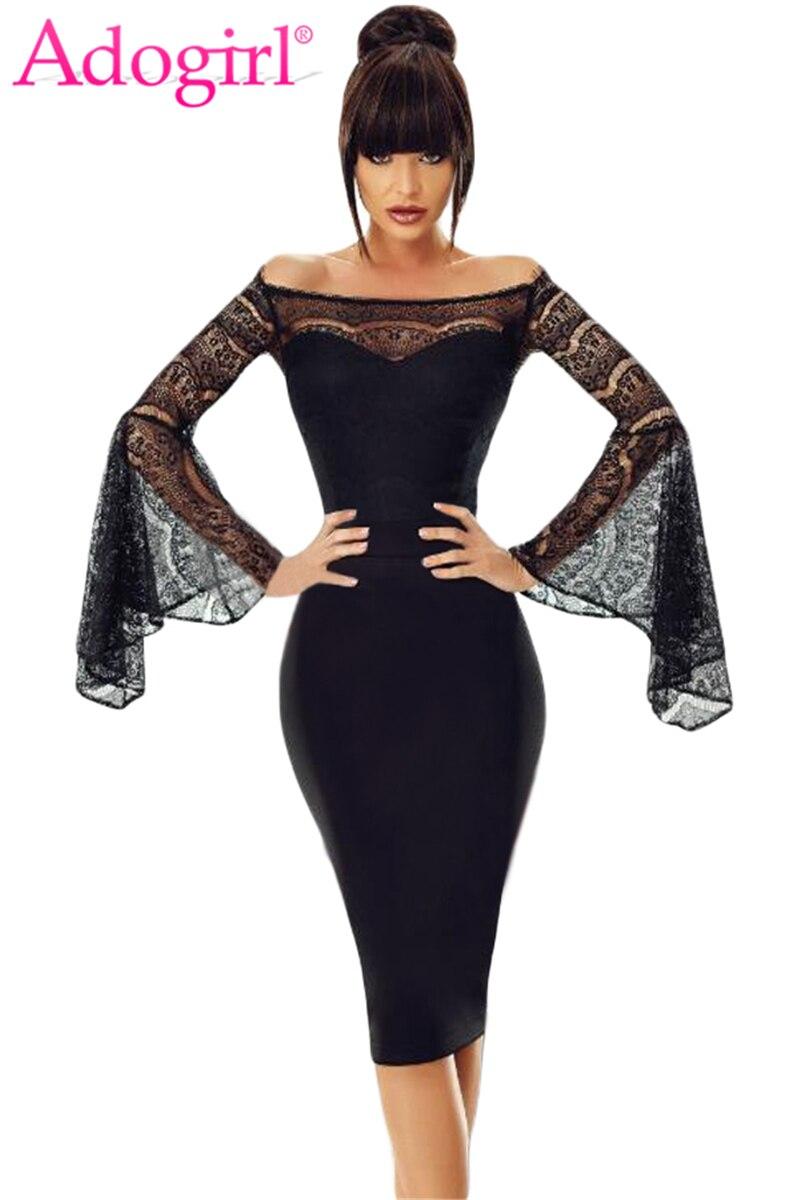 Detail Feedback Questions about Adogirl Black Lace Flare Sleeve Off Shoulder  Midi Dress Elegant Sexy Slash Neck Long Sleeve Sheath Midi Party Dresses ... e2b38b38331f
