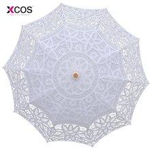 Модный кружевной зонтик от солнца, зонтик с вышивкой для невесты, белый свадебный зонтик Ombrelle Dentelle Parapluie Mariage
