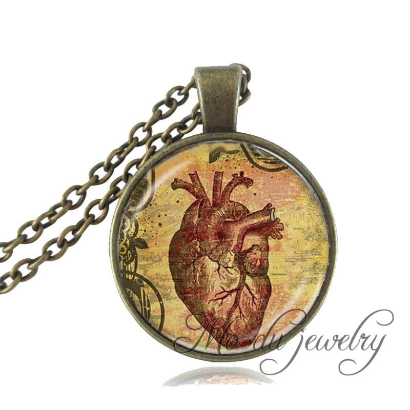 ᐂGota sghipping anatómico del corazón colgante collar de vidrio ...