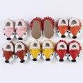 Genuíno couro de raposa bonito do bebê das meninas dos meninos inverno primeira walker shoes, bebe infantil mocassim de couro macio skid-prova crianças sapatos 0-24 m