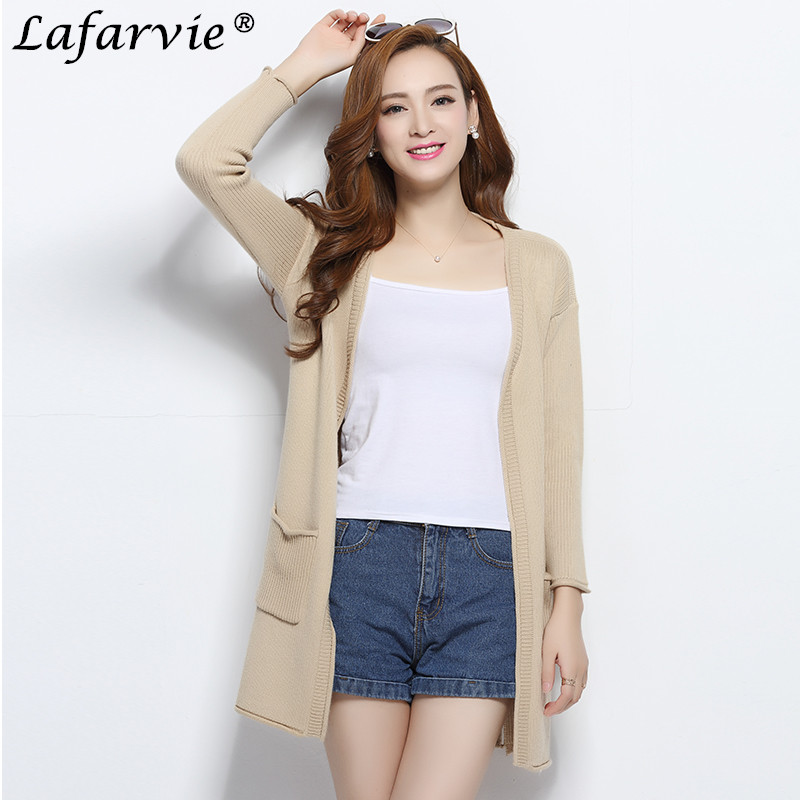 Lafarvie Cashmere Blended Knitted Sweater Cardigan Women Tops Autumn Winter V-Neck Full  ...