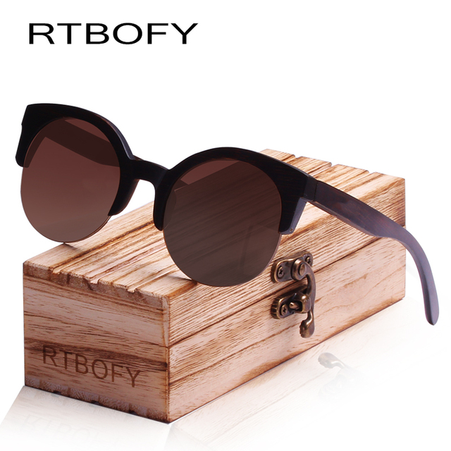 6dbc796a97 RTBOFY Wood Sunglasses Men and Women Bamboo Frame Glasses Handmade Wooden  Eyeglasses Vintage Design Shades
