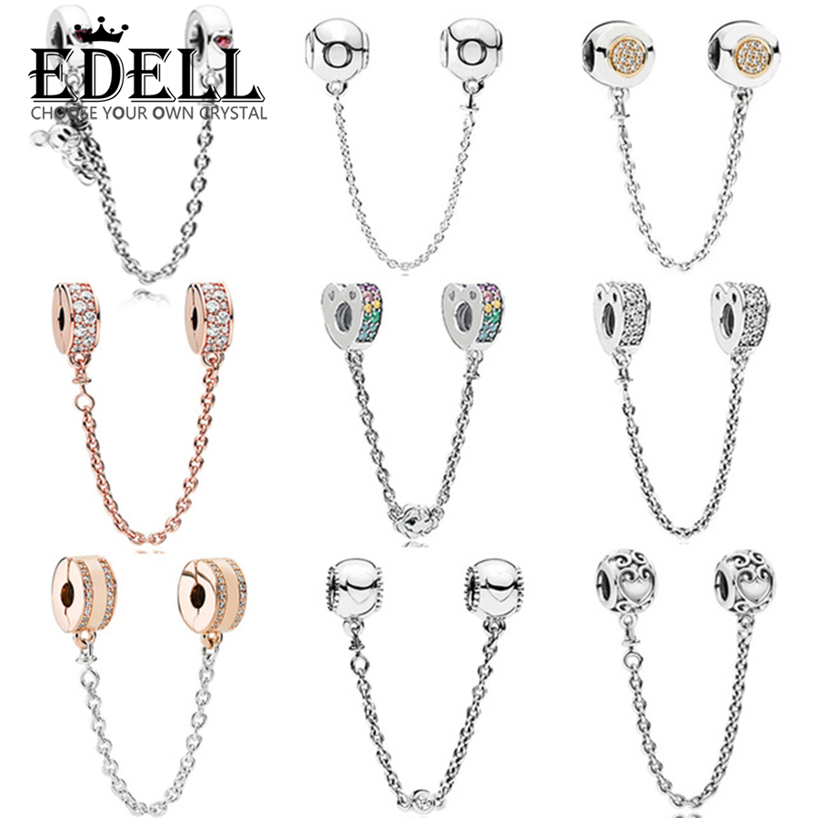 EDELL 100% 925 Sterling Silver Rainbow Heart Charm Rose Gold Classic Logo Safety Chain Fit DIY Bracelet Women Jewelry