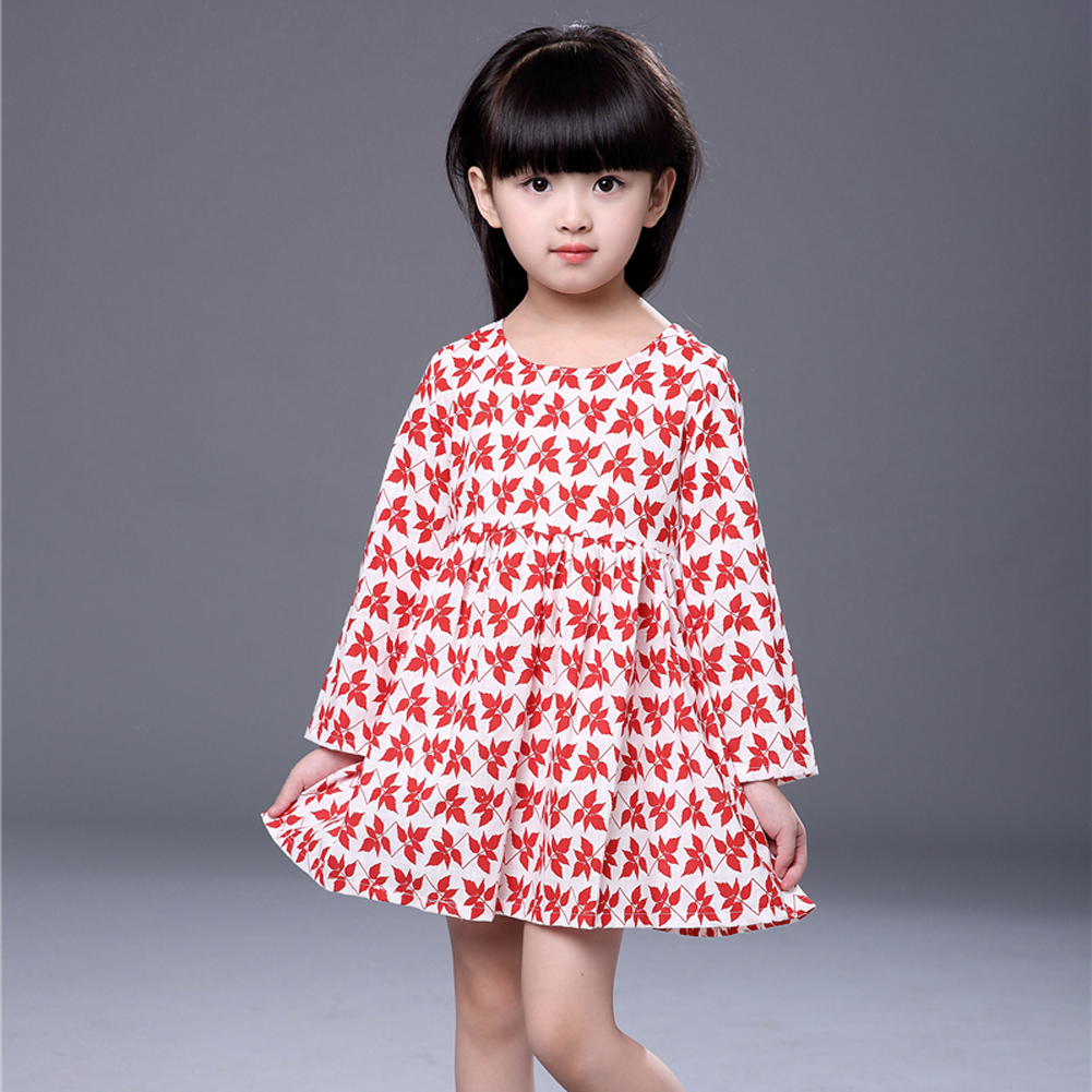 Girl Dress Kids Girls Dress Long Sleeve Maple Leaf Print Dress Soft Cotton Princess Dress Baby Girl Clothes stylish long sleeve pea print girl s dress