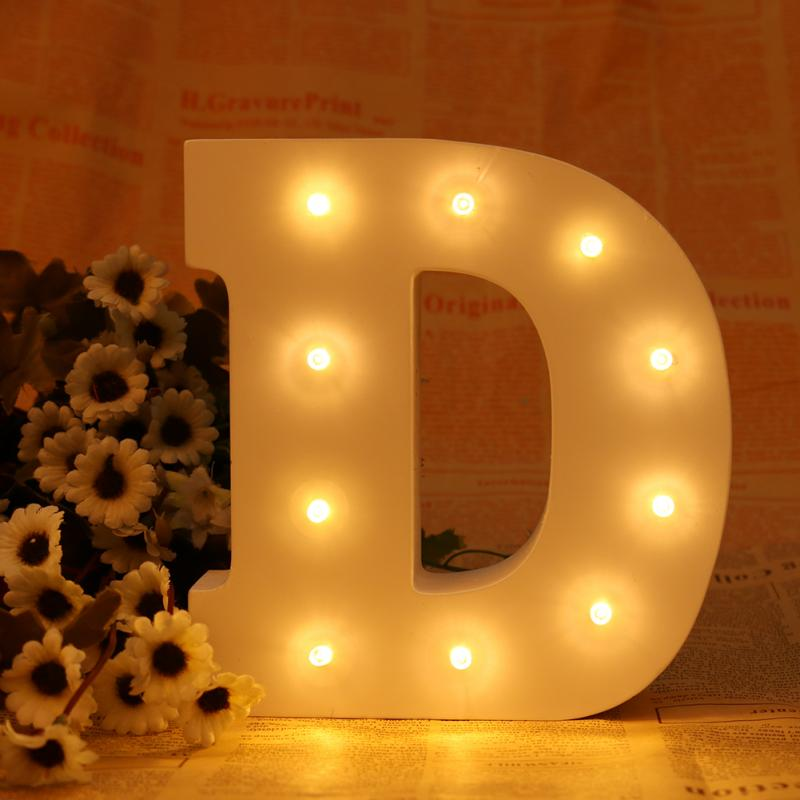 New ledertek Romantic Indoor Letter Lumineu WALL Night Lamp White Wooden Letter D LED Marquee Sign Alphabet LIGHT UP Night Light