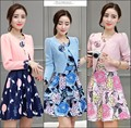 free shipping 2016 spring autumn womens new OL slim long sleeve clothes set fashion flower printed two piece dress suit sets