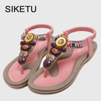 Summers Women Crystal Sandals Bohemia Women S Flip Flops Slippers Ladies Gladiator Beach Footwear Beaded Sandals