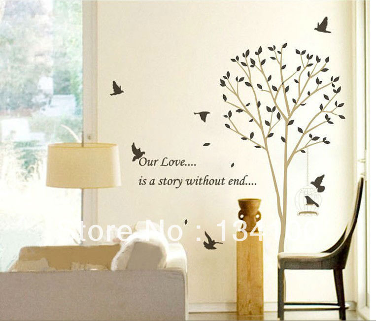 Tall tree leaves falling birds flying with english line for Stickers para pared decorativos