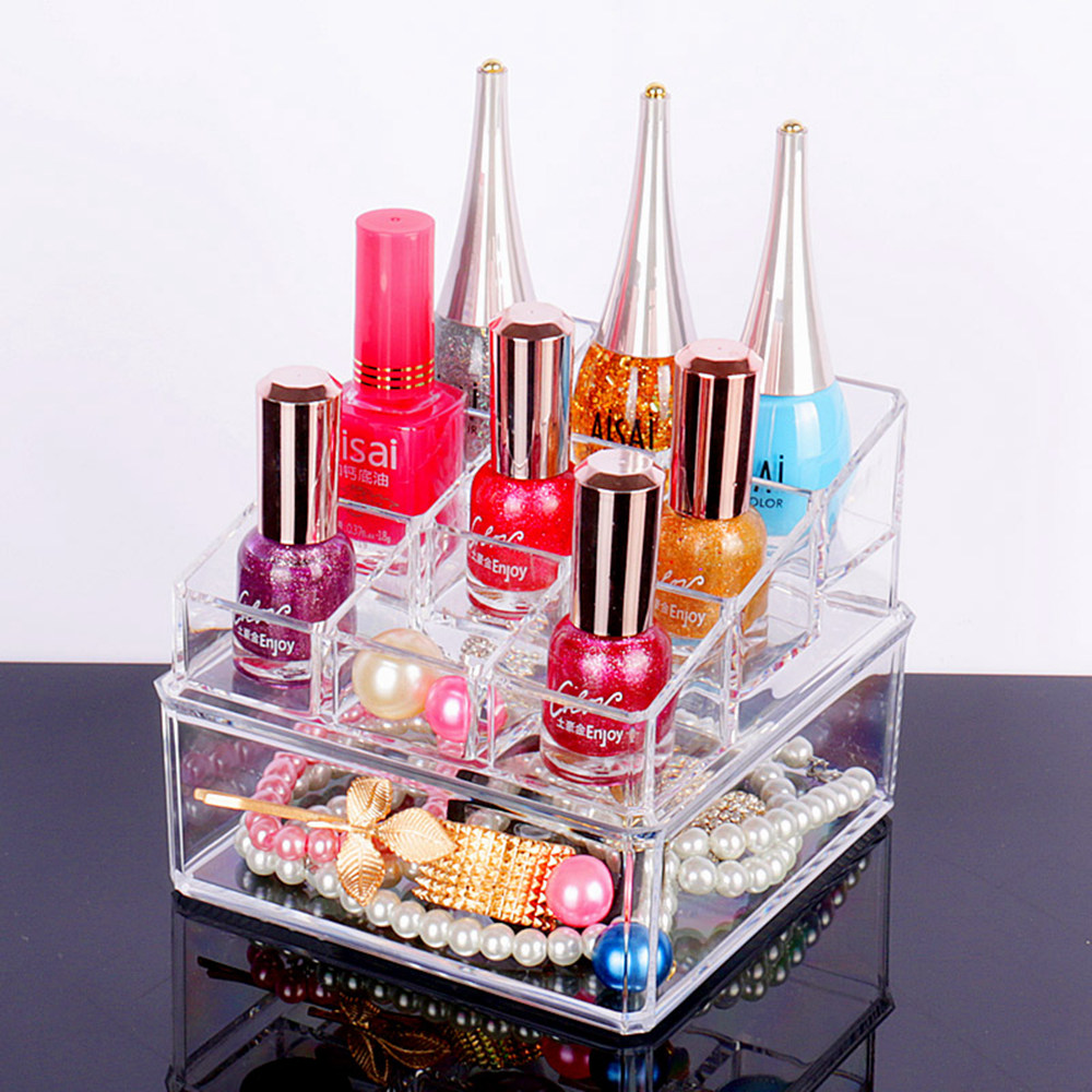 Transparent Acrylic Cosmetic Organizer Creative Crystal Plastic Makeup Lipstick Nail Polish Desktop Storage Box Special Gifts