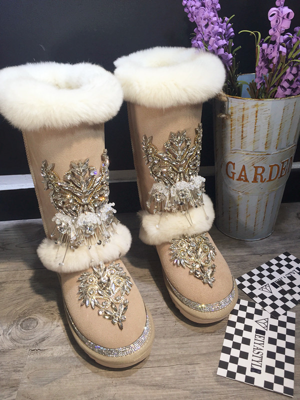 Rhinestone Embellished Round Toe String Bead Winter Bling Suede Women Snow Boots Hairy Mid-calf Flat Warm Outdoor Casual Botas