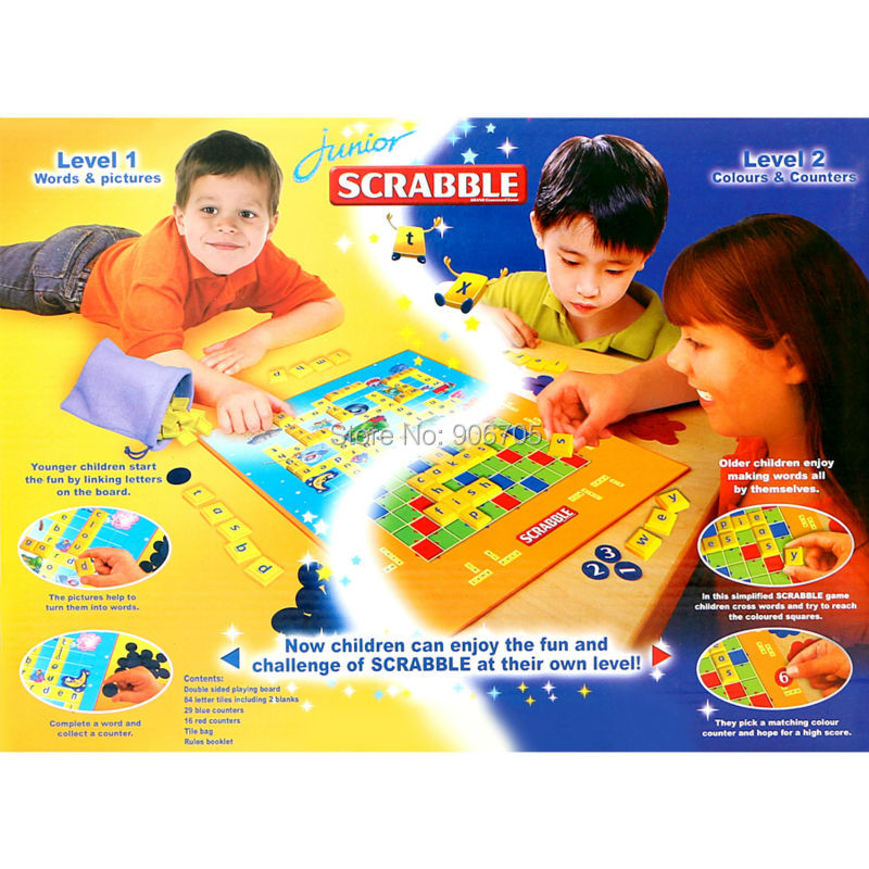 Junior SCRABBLE Words & Pictures Colours & Counters 2 Fun word games in one English Version Party/Family Puzzle Educational toy go games word search