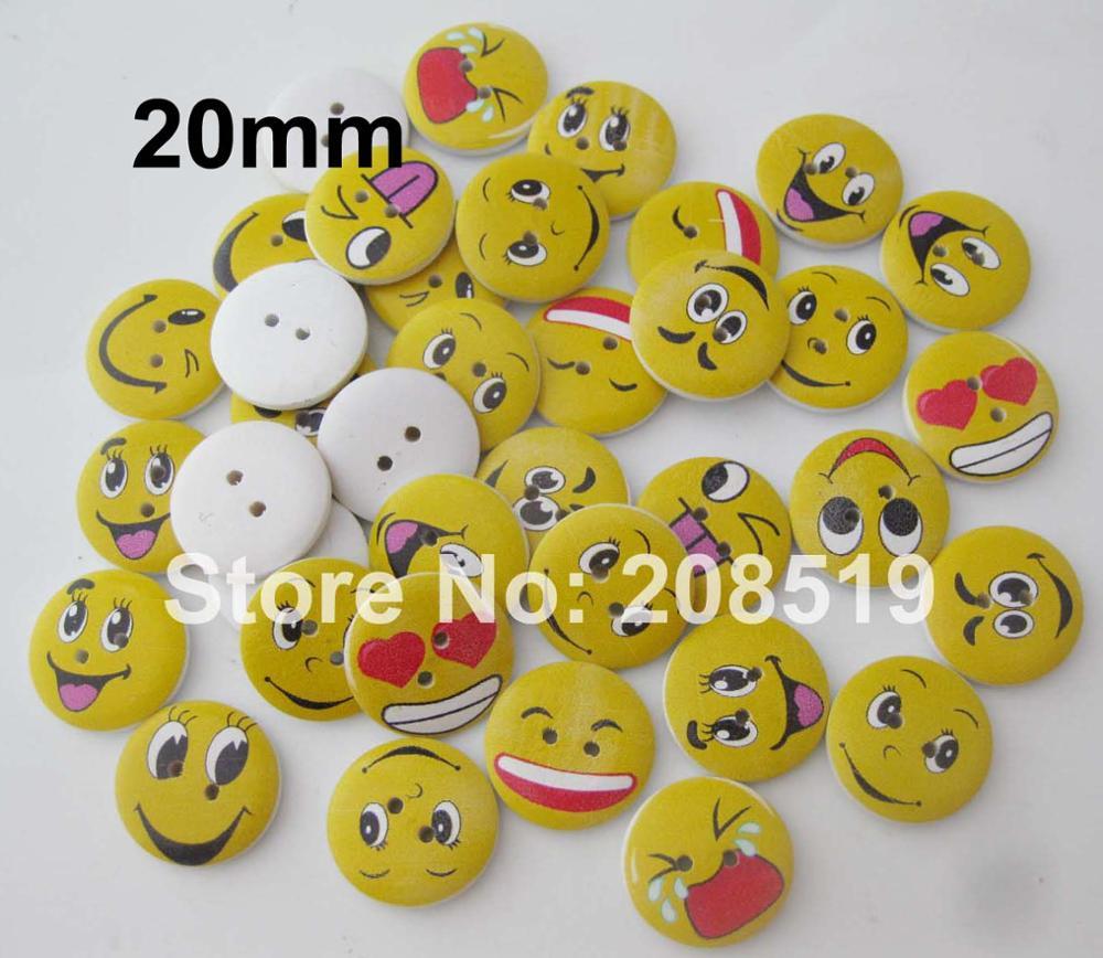 WBNWLN 20 мм и 25 мм различные выражения деревянные пуговицы для украшения 100 шт. flatback craft Botões - Цвет: 20mm with holes