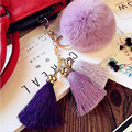 2016 Pompon Fluffy porte clef pompom women femme Pom Pom bag Keychain Real Rabbit Fur Ball Tassel Key Chain Rings llavero