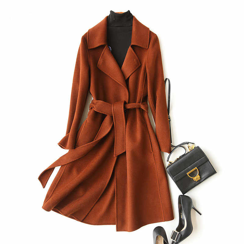 AYUNSUE Double Side Wool Coat Female Autumn Winter 2019 Fashion 80% Wool Coat Women Long Slim Jacket Overcoat casacos KQN37100