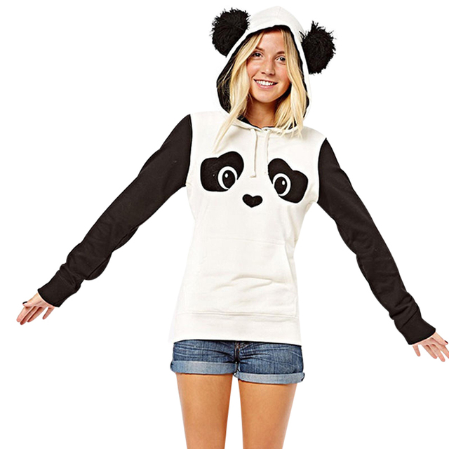 Kawaii Lovely Panda Hoodies Women Spring Autumn Hooded Sweatshirt High Quality Casual Fleece Pullover Jumper Tops sudadera mujer