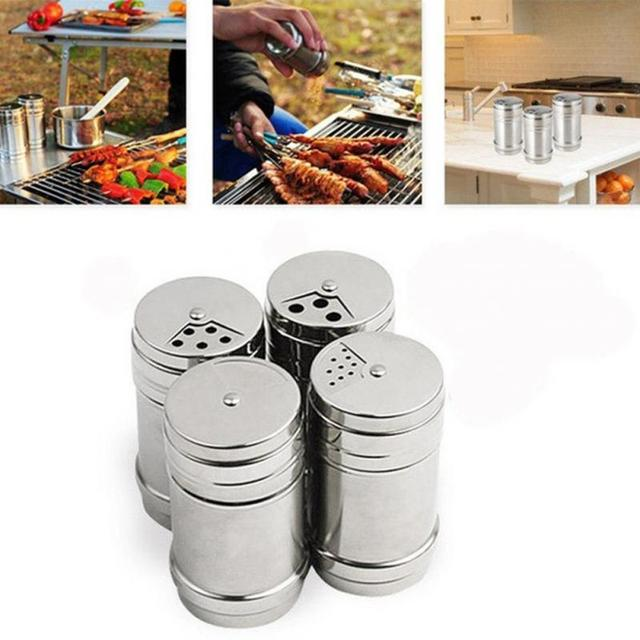 1Pc Stainless Steel Spice Shaker Jar Sugar Salt Pepper Herbs Toothpick Storage Bottle For Outdoor Camping Picnic BBQ