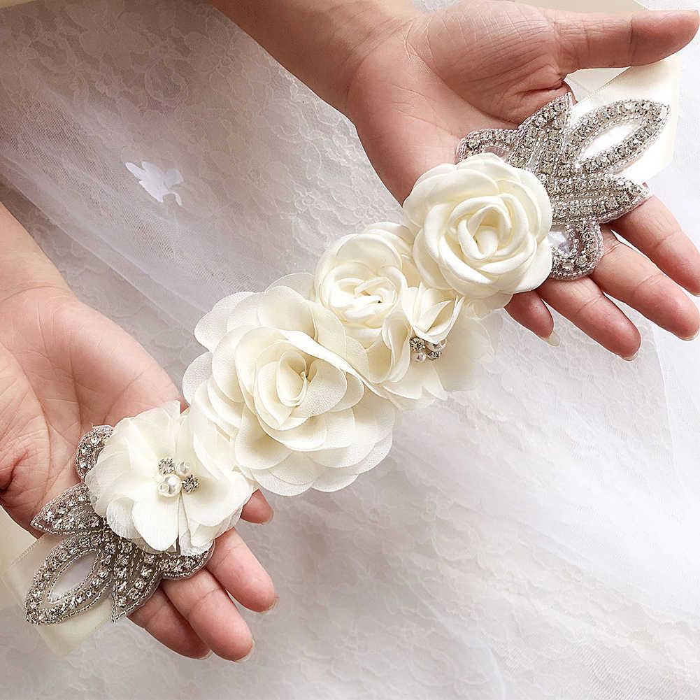 פנינת אביזרי קישוטי קריסטל כלה שמלת חתונה אלגנטית חגורת חגורה סימולציה עלה חרוזים פריחת ריינסטון פרח