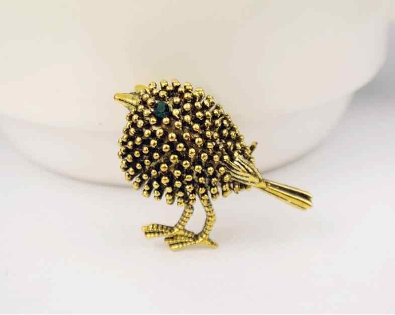 New Antique Perak Disepuh Lucu Burung Bros Untuk Wanita Anak-anak Tahun baru Hadiah Manik-manik Paduan Broches Pin Kerah Collar Tips perhiasan