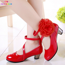 Girls Shoes Flower High-Heel Pink Princess Children New Red Rose Big PU Posh-Dream