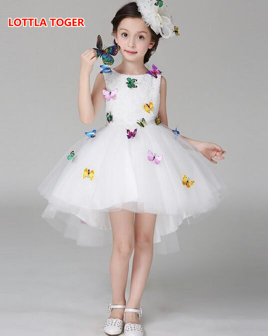 Kids Infant Girl Flower Butterfly Dress Children Bridesmaid Toddler Elegant Dress Pageant Vestido Infantil Tulle Formal