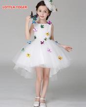 Kids Infant Girl Flower Butterfly Dress Children Bridesmaid Toddler Elegant Dress Pageant Vestido Infantil Tulle Formal Party Dr