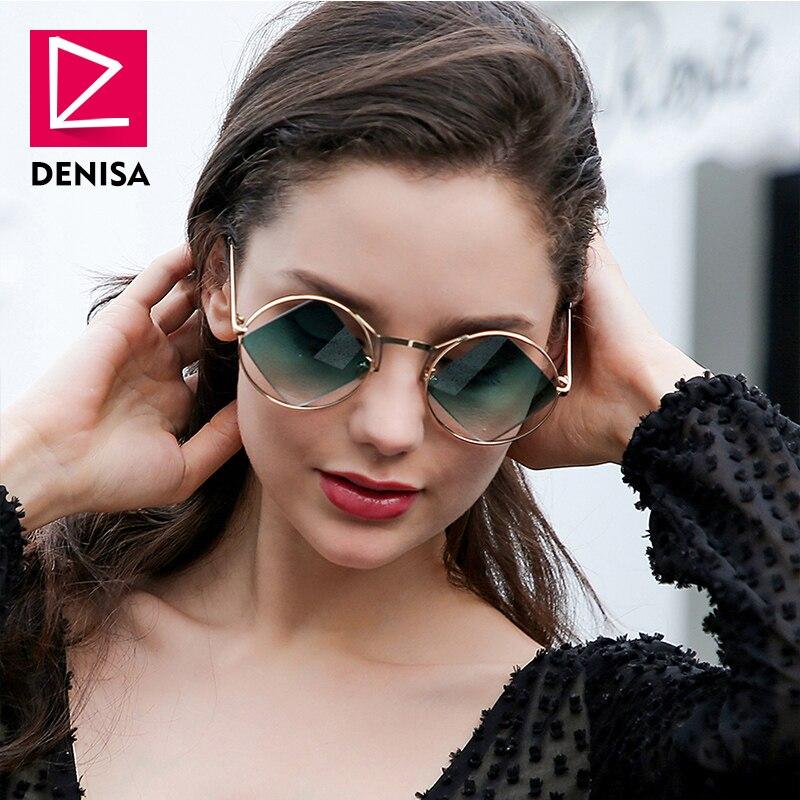 e0ea6ef5fa DENISA Retro Round Sunglasses Women Men Fashion Steampunk Vintage Rhombus  Sun Glasses Girls UV400 lunette de soleil femme G18034-in Sunglasses from  Apparel ...