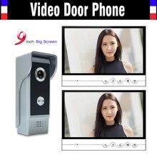9 inch big screen video door phone system video intercom doorbell doorphones kit for home video intercom system2-Monitor