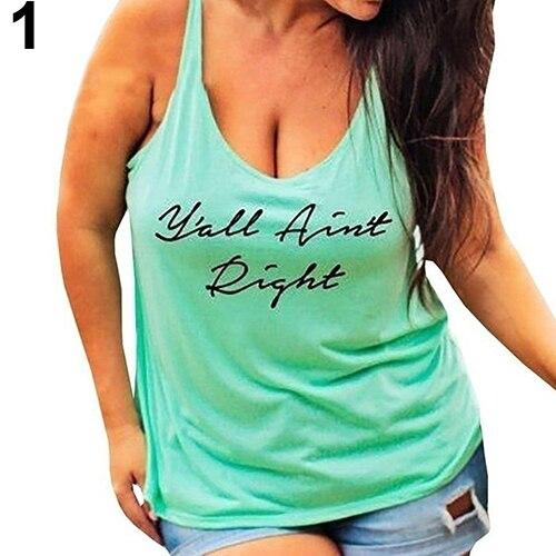cc528530e067c Women Plus Size Letter Anchor Print Sexy Vest Top Sleeveless Casual T-shirt