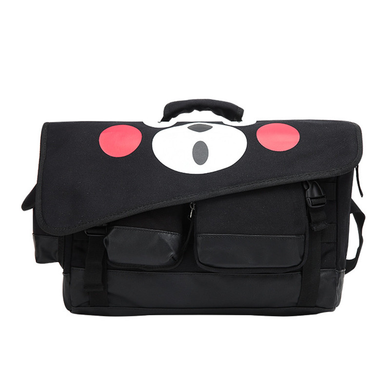 Cartoon Kumamon Bear Printed Men Boys Women Girls Hand Bag School Book Bag Cross Body Messenger Bag Canvas Black
