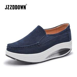 Image 1 - JZZDDOWN Inek Süet Sarmaşık kadın ayakkabı platformu Artı Boyutu mokasen Ayakkabı Kadın Platformu Hakiki Deri Bayan kadın ayakkabısı