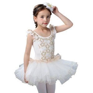 Image 5 - White Swan Lake Ballet Costume Short Sleeve Ballerina Clothes Children Kids Tutu Ballet Dress Lace Ballet Dancewear For Girls