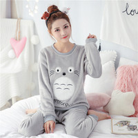 2018 Autumn Winter Women Pajamas Set Sleep Flannel Warm Pant Sleepwear Warm Nightgown Female Cartoon Bear Animal Pants Sleepwear