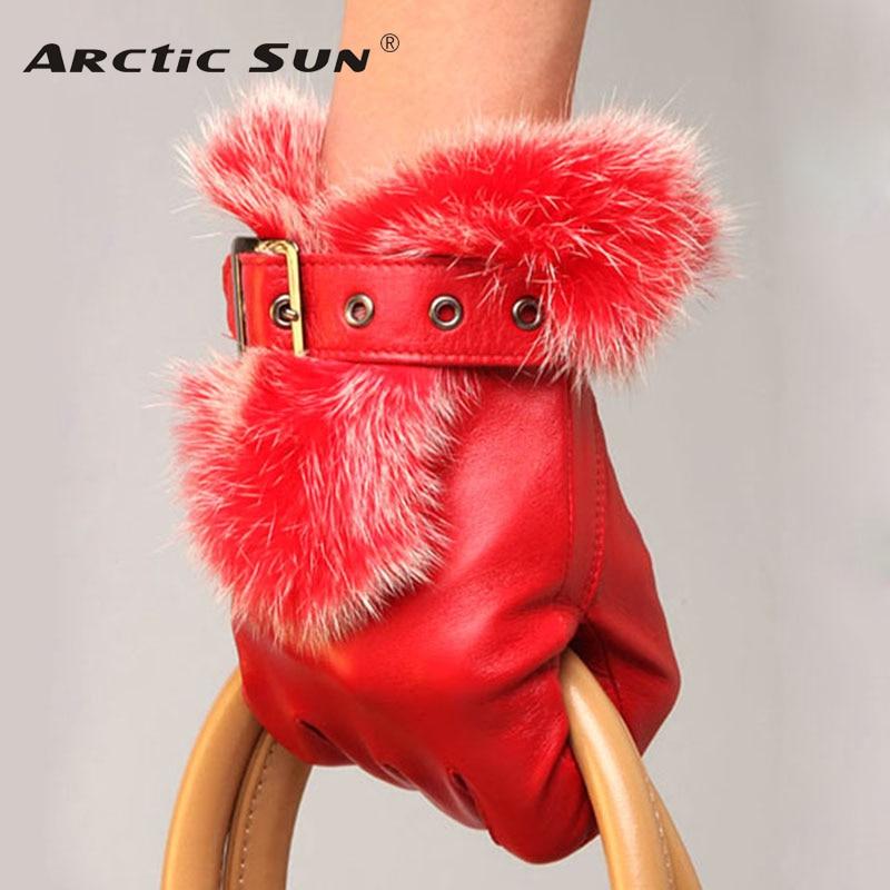 HOT Sale Fashion Women Sheepskin Gloves Wrist Rabbit Hair Genuine Leather Five Finger Elegant Lady Driving Glove L057PN