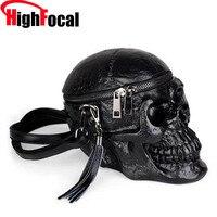 3D Skull Shoulder Bag Crossbones Messenger Bag Unisex Men Women Fashion Street Leather Zipper Handbags Punk Design Bag Dropship