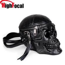 3D cráneo bolso calavera bolso Unisex de los hombres de la moda de las mujeres de la calle de cuero bolsos de cremallera diseño Punk bolsa Dropship