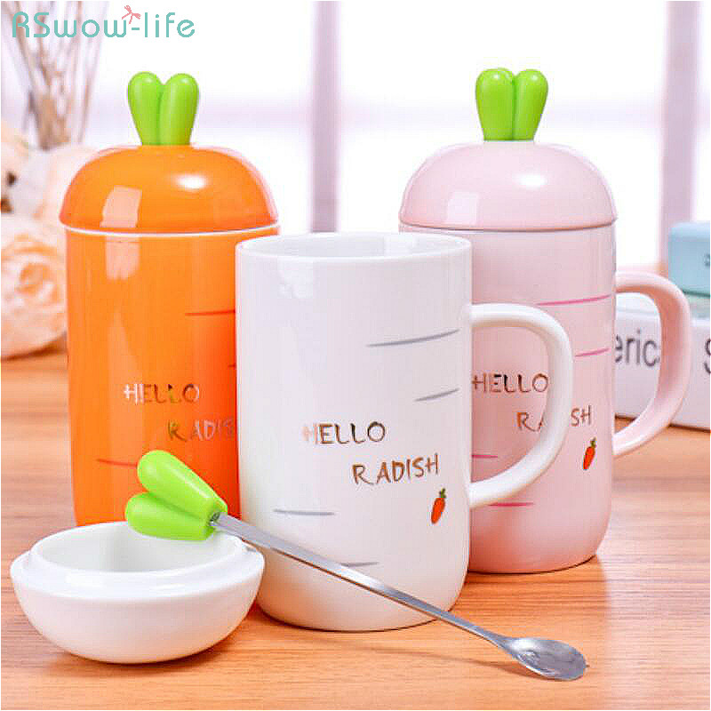 Creative Cute Carrot Ceramic Cup Mark Cup With Spoon Office Student Home Milk Coffee Water Mugs With Lid Travel High Capacity in Mugs from Home Garden