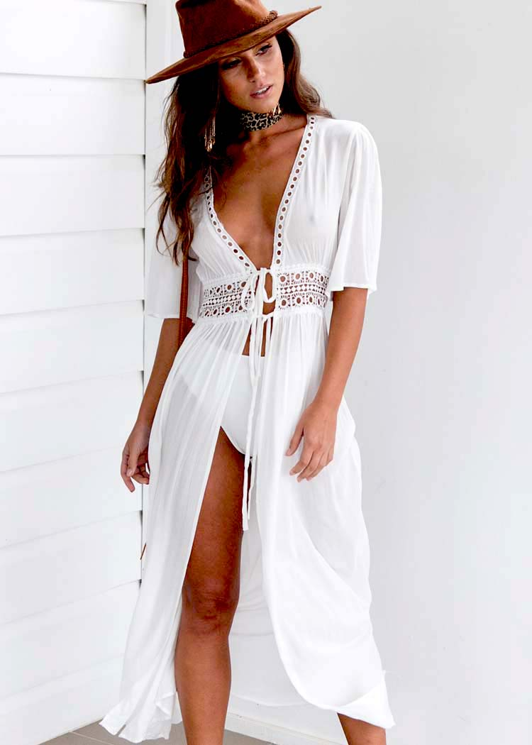 HTB1jyOcdHsTMeJjSszhq6AGCFXaw - Boho Women's Summer Holiday Beach Suit Kaftan Dress Half Sleeve V-Neck Sexy Loose Hollow Out Dress