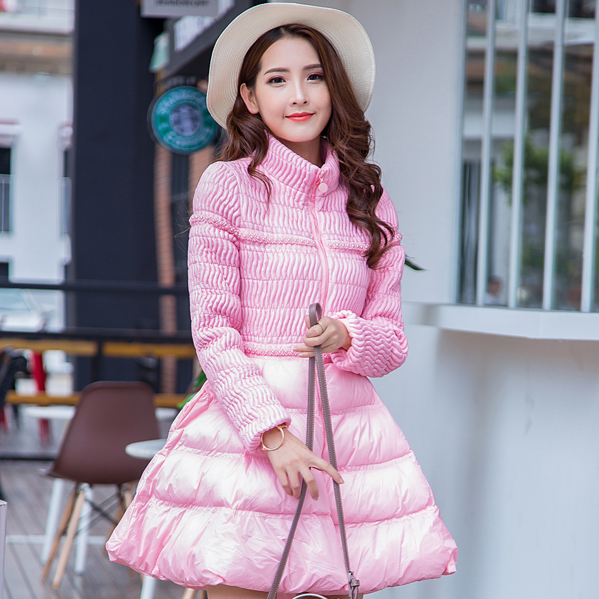 2016 New Elegant Women pearl Winter Cotton Down Jackets Ruched Long Slim Coat And Jacket Female Big Swing Ladies Snow Outwear lucky panda 2016 the new winter coat and female slim in the long and small lattice fragrant cotton lkp243
