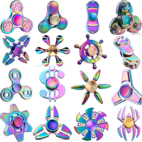 1pc lot Spiner Tri Spinner-Hand Metal Gold EDC Top Fidget Toy Sensory Hand Fidget Spinner Rainbow for Autism ADHD Kids Toys