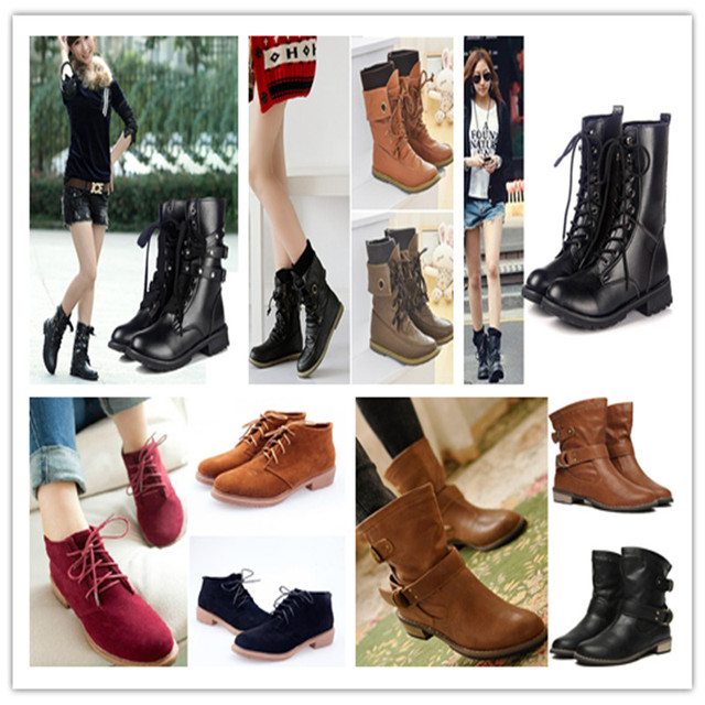 191ca67461afbb Fashion Women Biker Motorcycle Boots Goth Punk Rock PU Leather Lace Up  Military Combat Boot Flat Spiked Studded Vintage Shoes