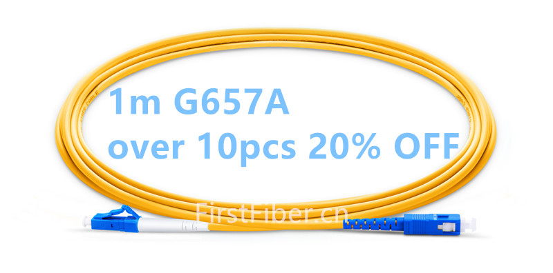 FirstFiber 1m LC UPC To SC UPC G657A Fiber Patch Cable, Jumper, Patch Cord Simplex 2.0mm PVC SM LC PC To SC PC Bend Insensitive