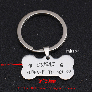 Personalized Name Bone Keychain Engraved Forever In My Heart For DOG ID Keychain Commemorative Dog Souvenir Charm Key Ring